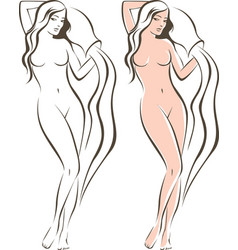 Nude female with amphora vector