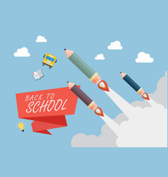 Pencil rockets fly into the sky vector
