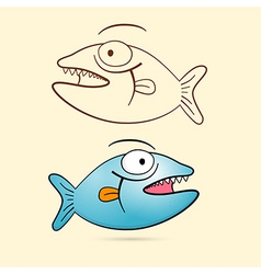 Fish With Teeth Blue Fish and Brown Outlined vector image