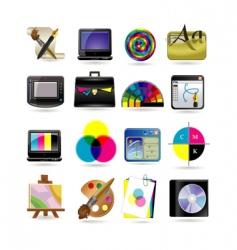 graphic design icon set vector image