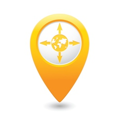 Arrowsandglobe map pointer yellow vector