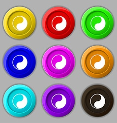 Yin yang icon sign symbol on nine round colourful vector