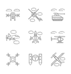 Military drones linear icons set vector