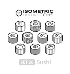 Isometric outline icons set 26 vector