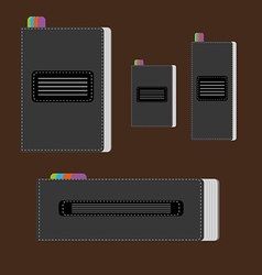 A set of silver writing notebooks of different s14 vector image