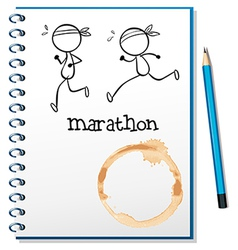 A notebook with two runners in the cover page vector image vector image