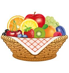 Basket fresh fruit apple lemon apricot berries vector