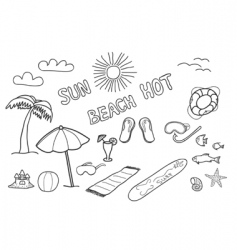 beach doodles vector image