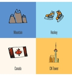 Canadian national symbols icons set vector