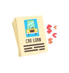 Car loan application form colorful cartoon vector