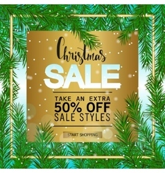 Christmas sale on a gold background Green fir vector image vector image