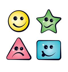 Color smiley faces emoji icons vector
