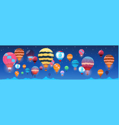 Colorful air balloons flying in night sky banner vector