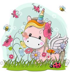 Cute cartoon unicorn on a meadow vector