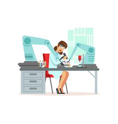 female scientist and robotic arm conducting vector image