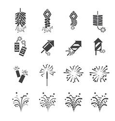 firework icon set vector image vector image
