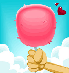 Fluffy cartoon cotton candy hold hand holiday love vector