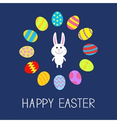 Happy Easter Cute bunny rabbit Round frame Flat vector image vector image