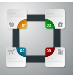 infographics four paper square vector image
