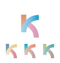 K logo letter mockup pastel colors design element vector image
