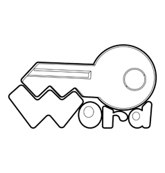 Key icon outline style vector image vector image