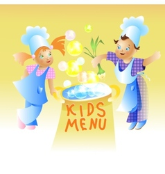 Kids menu card design child cartoon vector