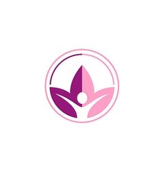 lotus flower yoga people sport logo vector image vector image