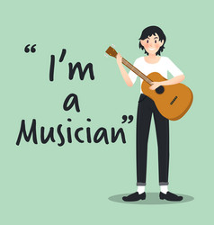 Male musician character with guitar on sky blue vector