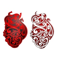 Maori style tattoo as heart shape vector image vector image
