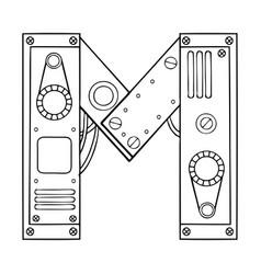 mechanical letter m engraving vector image