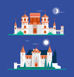 Medieval ancient castle buildings flat icons set vector