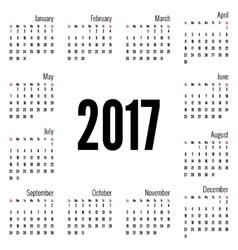 Monthly calendar for 2017 vector