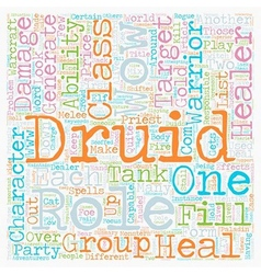 Role of the druid wow text background wordcloud vector
