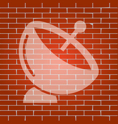 satellite dish sign whitish icon on brick vector image