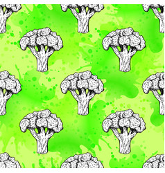 seamless pattern with broccoli background vector image vector image