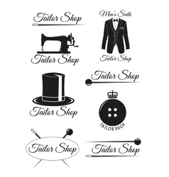 Set of black badges for tailor shops vector image vector image