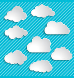 set of clouds on a blue striped background vector image vector image