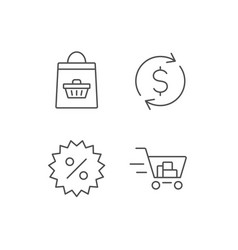 Shopping cart discount and dollar icons vector