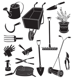 Silhouettes of gardening tools vector