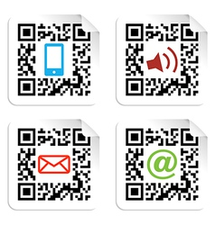 Social media icons set with qr code sign label vector