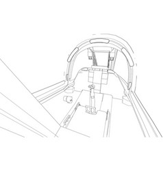 The cockpit of combat aircraft from the inside vector