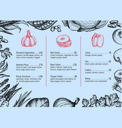 vegan cafe menu identity typographic design vector image vector image