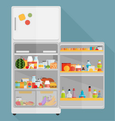 vintage opened refrigerator - full of food vector image vector image