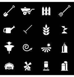 White farming icon set vector