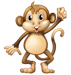 Wild monkey with hand up vector