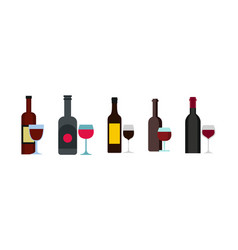 wine bottle glass icon set flat style vector image