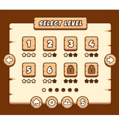 Wooden level selection panel for game vector