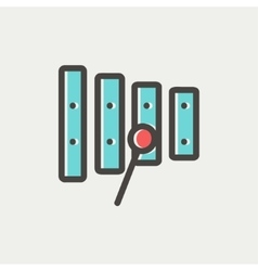 Xylophone with mallets thin line icon vector