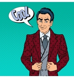 Handsome confident businessman portrait pop art vector