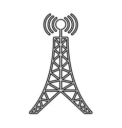 antenna tower broadcast connection line vector image